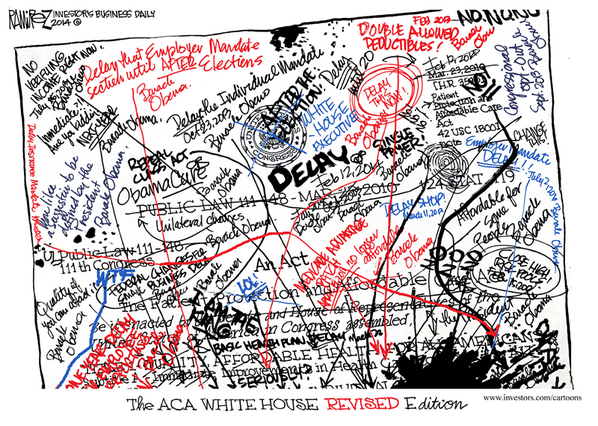 Have you seen the newly revised #Obamacare chart, following Obama's royal edicts? ➨ http://t.co/86D7WM6JSV