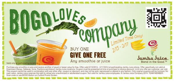Buy One, Get One Free at @JambaJuice @AmericanaBrand 2/13 - 2/17 Only! http://t.co/ewgES9WTnH http://t.co/jOkXs5Zkgb