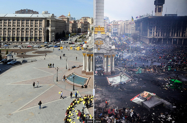Really sad pic of the day RT @WSJ #Ukraine's Independence Square: then and now http://t.co/5PXidRrzEN  http://t.co/CtuTeDRUYR