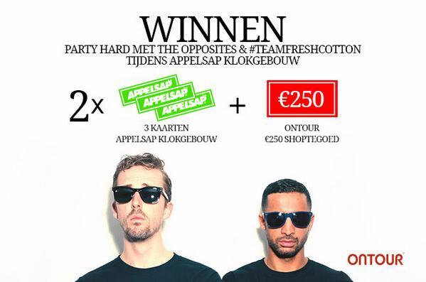 Winnen! Win een avondje party-en met de Opposites en #teamfreshcotton tijdens Appelsap en 250 euro shop tegoed. http://t.co/VDmKFnxgNu