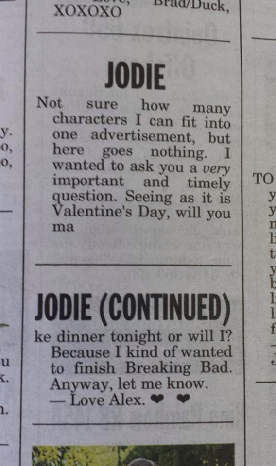 "Just beautiful ""@MattNicholls29: A terrific Valentine's Day newspaper message in the Launceston Examiner http://t.co/bClP0g4ivn"""