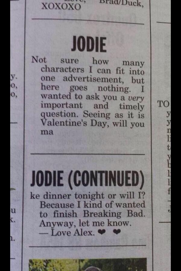 Important Valentines message for Jodie via @rharris334 http://t.co/yRxwOa50AU