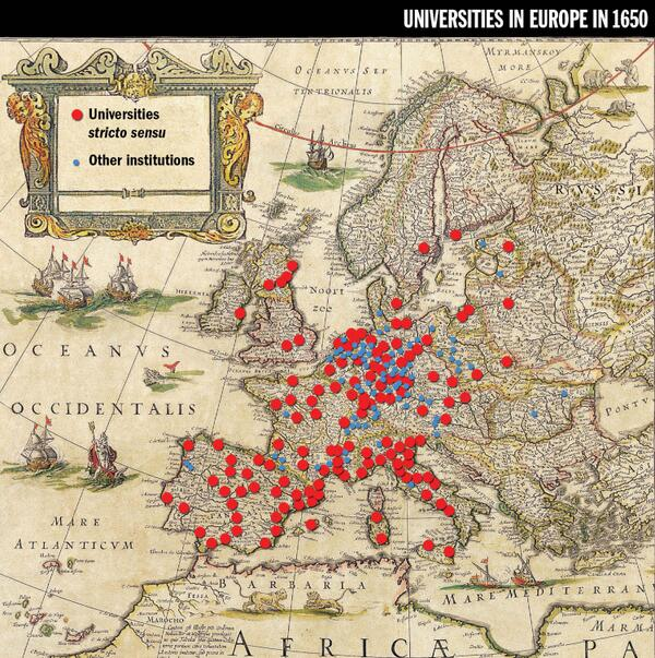 This image of Europe's universities in 1650 is proving popular. It's from here: http://t.co/dWVawx1ULL #highered http://t.co/L5WozWLR56