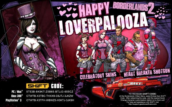 Happy Loverpalooza! If you missed last year, now's your chance to obtain some Borderlands 2 goods via SHiFT codes... http://t.co/CR7hlZOb60