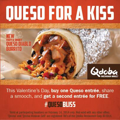 Queso for a Kiss is today! Buy a Queso entree, smooch someone special & get a second entree for FREE. http://t.co/gcBRquIglb