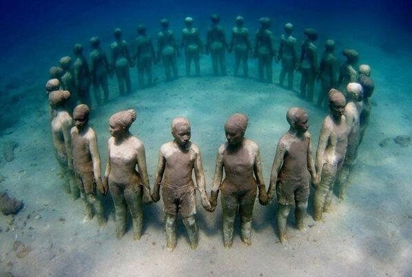 Haunting Grenada underwater sculpture of Africans thrown overboard from slave ships http://t.co/CuCKM2FvnY Let's never 4get evil of slavery