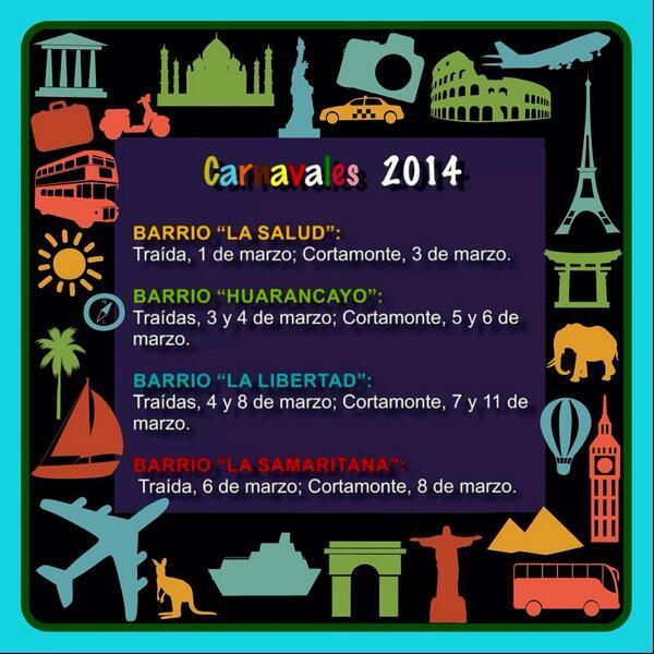 Bienvenidos a Jauja Peru a celebrar los Carnavales de mi Tierra 2014...los esperamos con los brazos abiertos http://t.co/XRU8sMkfEC