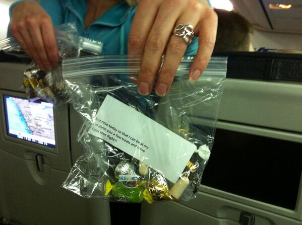 Fellow passenger w/ baby offers bribe: ziplock bag with earplugs + candy. Personal #servicedesign http://t.co/dve2OhOt8K