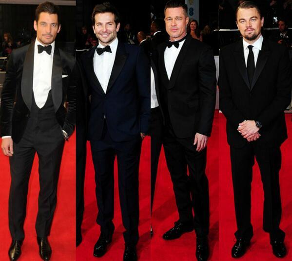 Best Dressed Men: David Gandy, Bradley Cooper, Brad Pitt & Leonardo DiCaprio! #BAFTAs http://t.co/69d0wX8Cb1