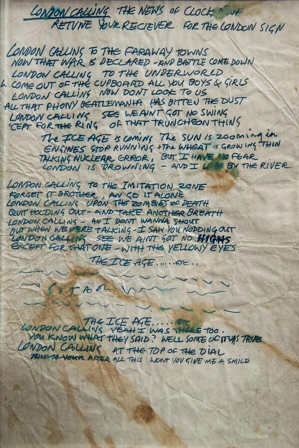 @GloBlair RT @HistoryInPics: Joe Strummer's handwritten lyrics for London Calling, 1979 http://t.co/BA97YGoIrA