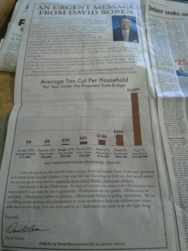 An advertisement in today's Sunday Oklahoman that is a must read http://t.co/7hku9m93t9
