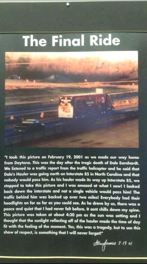 Great story @NASCARFanatics_: The final ride!  #DaleSr #SoSad #Forever3 http://t.co/sxKwxE6zC7""