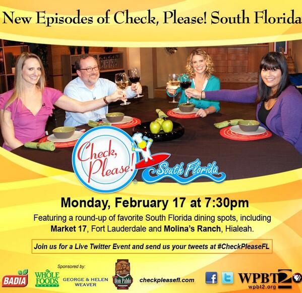 #SouthFlorida food bloggers help kick off the season premiere of @CheckPleasefl with @chefmichy TONIGHT at 7:30pm! http://t.co/pnAOT1RVMR