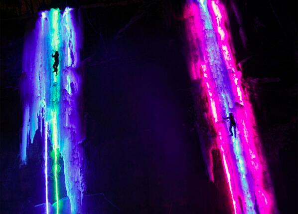 Lights strung behind massive pillars of ice make these frozen waterfalls glow. http://t.co/YGKSDtVF5e #climbing http://t.co/y2NvKtOB8D
