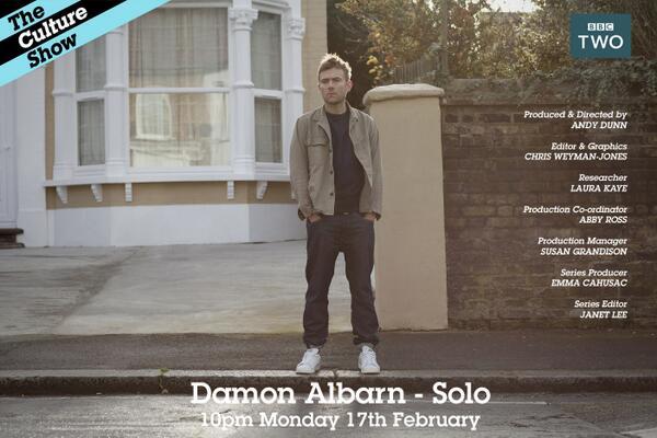 TONIGHT at 10pm on @BBCTwo Damon Albarn – Solo @DamonAlbarn http://t.co/4iUb0NSzCs