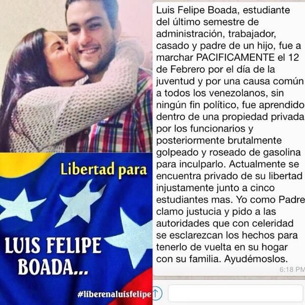 #Venezuela Favor hacer RT... Pidan la Liberación de LUIS FELIPE BOADA #LiberenALuisFelipe http://t.co/v9QJ9tylfs