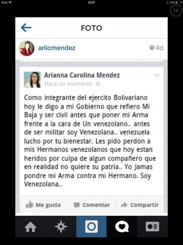 """Bravo! """"@AriVasmen: Yo Soy Venezolana Antes que Militar.. Muchas cosas por Decir y tan pequeño los espacios... Perdon http://t.co/54SsLHtosk"""