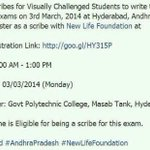 RT @teja_vemula: @pranitasubhash Need 50 scribes to write exams for Visually Challenged Students on March 3rd 2014.. plz share ASAP !! http…