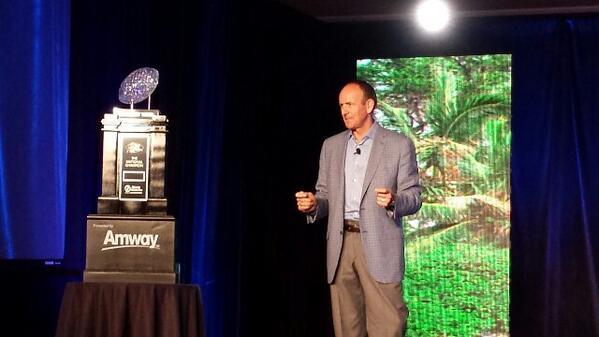 Doug DeVos and the New Amway NCAA National Championship Trophy! http://t.co/1LbO5u8YjV