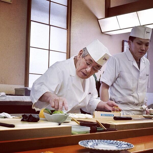 82yo legend Morita Kazuo at Sushi Komatsu Yasuke. Many have called him the greatest sushi shokunin ever. Respect. http://t.co/LVAYnRN2x3
