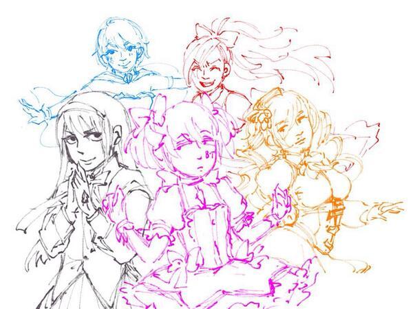 今更まどまぎの絵を描いてみようと軽く落書きしてみたら何かどっかで見たことある5人組の顔になってしまってとても困惑しています。 http://t.co/DTEgj8RIYj