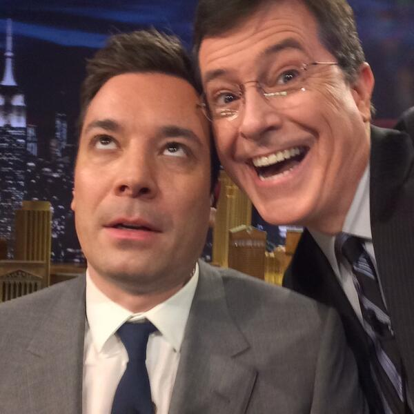 The two funniest men on late night @StephenAtHome and @jimmyfallon http://t.co/QdW3dUXwME