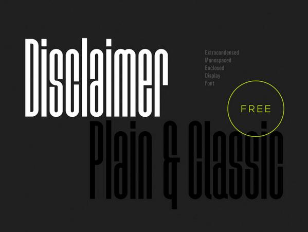"Hot New Release! Download ""Disclaimer"" free fonts from here - http://t.co/FzMuJiV1ar Please RTweet to spread... http://t.co/8DFiTmfjhv"
