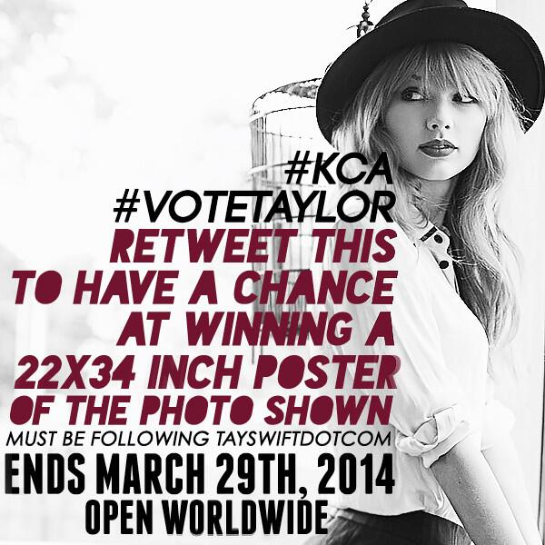RETWEET to #VoteTaylor #KCA  & for a chance to win a Taylor black & white porch poster! Open worldwide! http://t.co/IScGTfSEzp