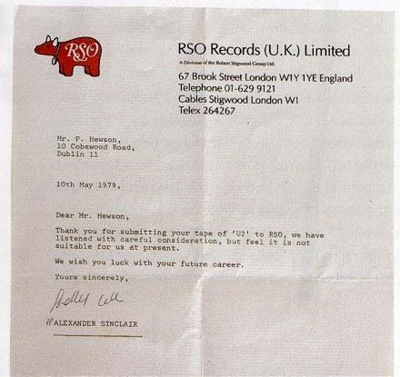 Rejected? This should give you hope. RT @UberFacts: A rejection letter Bono received from a record label in 1979. http://t.co/rwiZT8vbN6