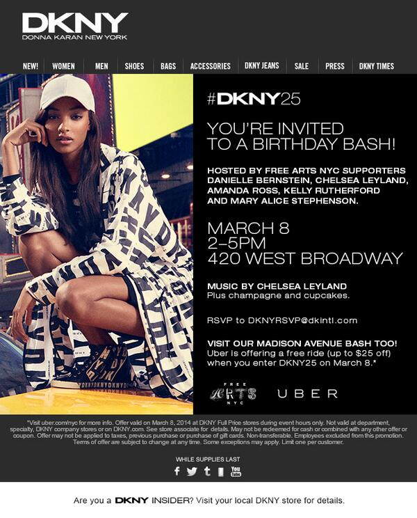 YOU'RE INVITED TO A BIRTHDAY BASH! #DKNY25 @dkny @FreeArtsNYC http://t.co/a3VFrFxiIC