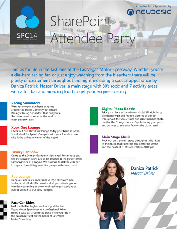 Breaking: Racing legend @DanicaPatrick will be at the Attendee Party! #SPC14 http://t.co/kvt5a9vVs3