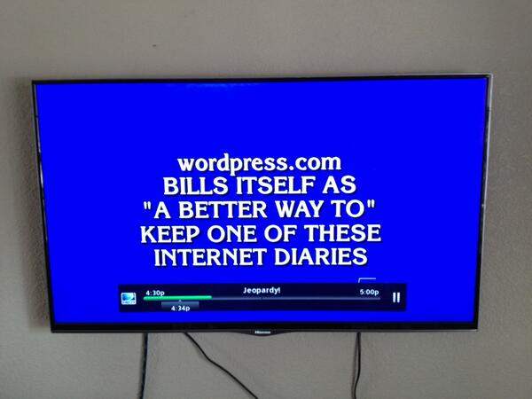 .@wordpressdotcom was featured on today's episode of @Jeopardy! So cool! Photo by my co-worker Brian. http://t.co/cYwSKRlBbB