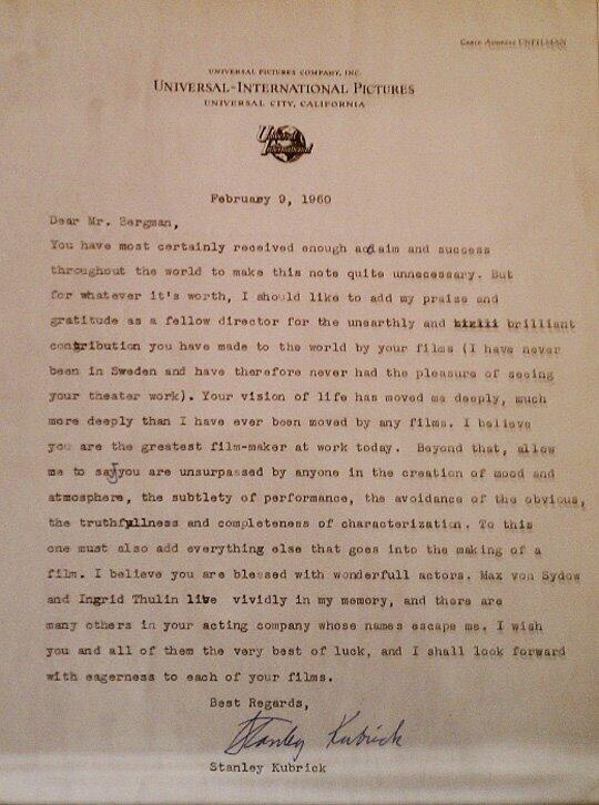 """RT @FilmHistoryPics: Letter from Stanley Kubrick to Ingmar Bergman, """"the greatest film-maker at work today."""" http://t.co/IIk1yEpsdg"""