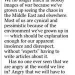 A 16 year old has written a thought provoking letter to the Times this morning. http://t.co/g3eUhirnnz