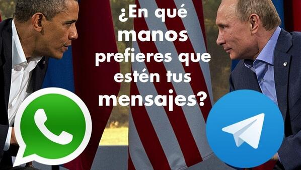 Difícil elección, ¿no? Whatsapp vs. Telegram, USA vs. Rusia ... http://t.co/ZsbqJUCNjj