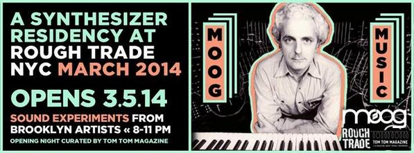 Moog's Over Brooklyn. Synth residency @RoughTradeNYC for the month of March. http://t.co/i5XbiRPCee