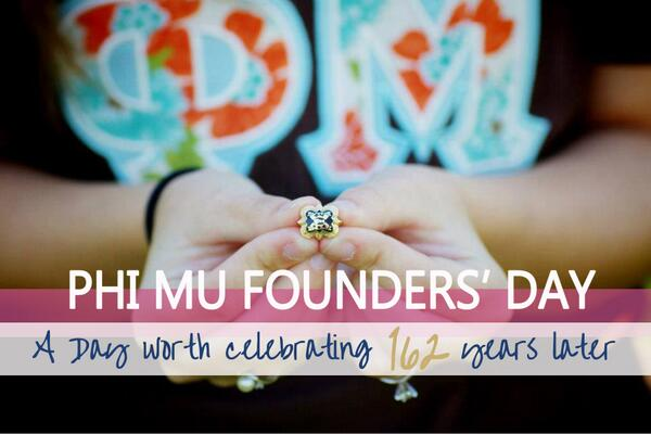 Happy Founders' Day to all our Phi Mu sisters! http://t.co/cXKOBpxQd8