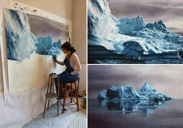 'Zaria Forman' creates breathtaking pastel drawings of Greenland's icebergs to raise awareness on climate change. http://t.co/N4FJ86Tg1u