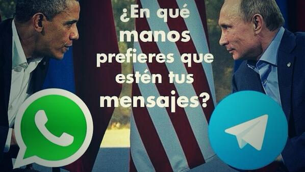 La gran decisión es en manos de quién poner tu privacidad... :)  Whatsapp (USA) vs. Telegram (Rusia) http://t.co/KULFNKEj59