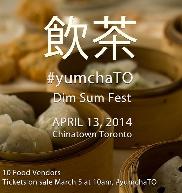 Okay dim sum lovers, tickets to #yumchaTO go on sale tomorrow. 10 Vendors, fun plates, $10. http://t.co/aMYg2JJgvV