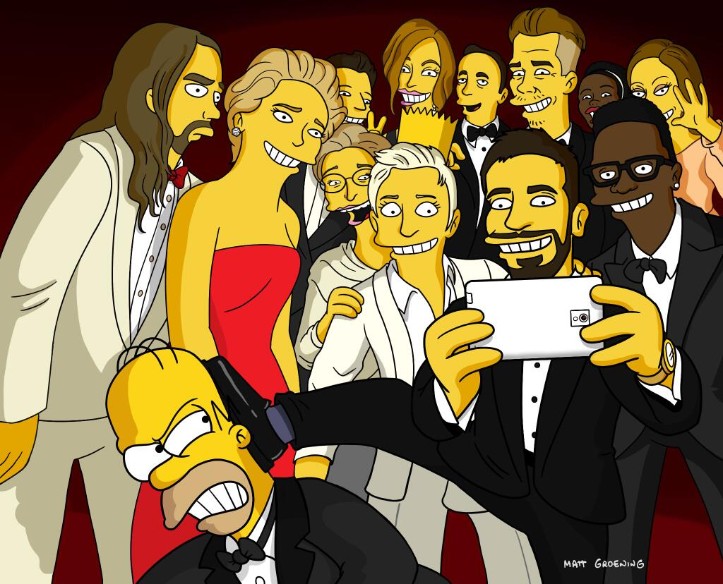 RT @TheSimpsons: .@TheEllenShow Oscar® Selfie: A wider view. #thesimpsons http://t.co/4rOSejhycW