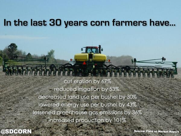 During the last 30 yrs, America's corn farmers doubled their yields & greatly increased their overall #sustainability http://t.co/7WgY3vRjvq