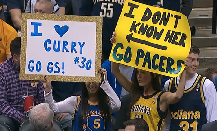 The ladies are really steppin' up their @NBA signs. #Warriors #Pacers http://t.co/O3ET79tnZY