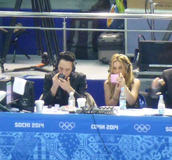 This photo just made me smile. #Sochi2014 @Tara_Lipinski @JohnnyGWeir http://t.co/dEeNdheo8z