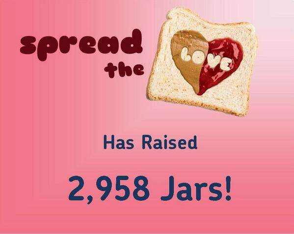 2,958 jars of pb&j so far during #spreadthelove . Keep those FB likes coming! TY @subaru_usa http://t.co/8LY8DrIHpG http://t.co/dkzIKJI2El
