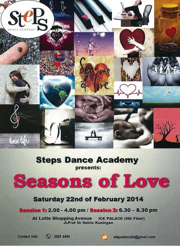 "Come & see us perform at @LOTTE_LOVE_JKT today. @Stepsdancefx presents ""Seasons of Love"". Tickets available on d spot http://t.co/I3zACPCtWQ"