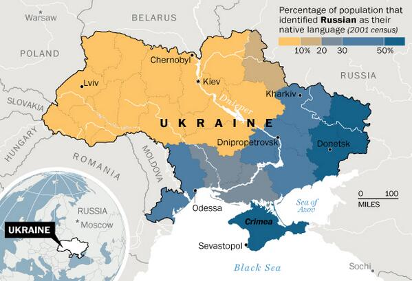 Ukraine's language divide #map - Source: WaPo // This explains part of the rift. http://t.co/riIiAYgfyh