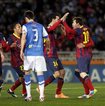 Así celebraron el gol los jugadores del Barça. Foto: Pep Morata http://t.co/9yoPNu7BIj