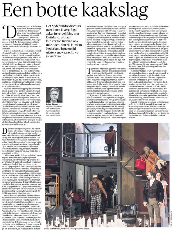Heel goed opiniestuk in @nrc vandaag: Johan Simons over het Nederlandse kunstklimaat en het belang van elites. Lezen! http://t.co/NIkp7QajjU