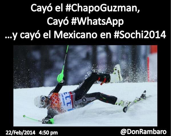 DOBABES  Cayó el #ChapoGuzman, Cayó #WhatsApp y cayó el Mexicano en #Sochi2014 cc @qtf http://t.co/vXBTBQWt4X